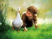 painting- child with duck